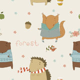 Cute seamless pattern with wild animals Stock Photography
