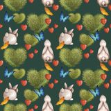 Cute Seamless Pattern With Bunnies And A Bush In The Shape Of A Heart. Summer Bright With Colorful Butterflies. Royalty Free Stock Images