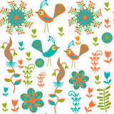 Cute Seamless Pattern With Cartoon Bird And Flower Royalty Free Stock Photo