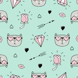 Cute Seamless Pattern With Cat, Hearts And Love Doodles Stock Image