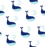 Cute Seamless Pattern With Decorative Whales. Stock Images
