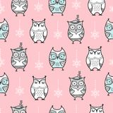 Cute Seamless Pattern With Hand Drawn Owls Stock Image
