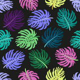 Cute Seamless Pattern With Tropical Palm Leaves Royalty Free Stock Images