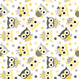 Cute seamless pattern with yellow and gray owls Royalty Free Stock Image