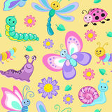 Cute seamless patterns with cartoon happy insects. Stock Photos