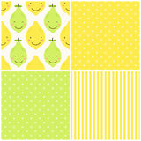 Cute seamless patterns of citrus fruits characters: lemon and lime with simple textures of friendly colors. For your decoration Royalty Free Stock Images