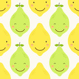Cute seamless patterns of citrus fruits characters: lemon and lime with simple textures of friendly colors. For your decoration Royalty Free Stock Photo