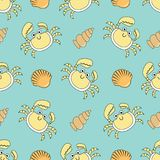 Cute seamless patterns with crab and shells Stock Photography