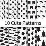 Cute seamless patterns vector illustration