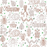 Cute seamless patterns with insects and leaves Royalty Free Stock Images