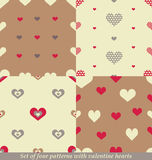 Cute seamless patterns for Valentine's day design. Royalty Free Stock Photos