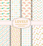 Cute seamless patterns. Vector set. Stock Photography