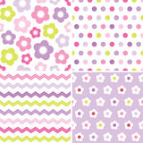 Cute seamless pink and purple background patterns. Set of seamless retro spring background patterns in pink and purple for baby, Mothers Day, Easter, gift