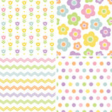 Cute seamless pink and yellow background patterns. Set of cute seamless retro background patterns in spring colors for baby, Mothers Day, Easter, gift wrapping
