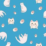 Cute seamless repeating pattern cats and paws stock illustration
