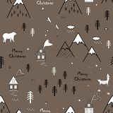 Cute seamless scandinavian pattern with bear, fox, houses and trees, texture landscape in outline style. Vector. Christmas background royalty free illustration