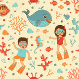 Cute seamless sea pattern Stock Image