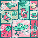 Cute seamless Space pattern. With alien monster, Earth globe, moon, spaceship, sun and planet Saturn Royalty Free Stock Image