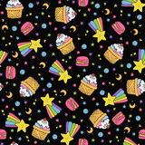 Cute seamless space pattern. Cute seamless pattern with macaroons, cakes and rainbow flying in open space.black background.vector Stock Images