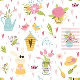 Cute seamless spring floral bouquet pattern Birds family rabbit Light baby design vector. Cute seamless pattern with birds family rabbits nesting box spring royalty free illustration