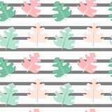 Cute seamless striped vector pattern background illustration with exotic leaves. Cute seamless striped pattern background illustration with exotic leaves vector illustration