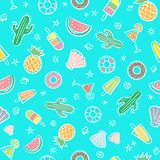 Cute seamless summer pattern with summer elements including sea Stock Photo