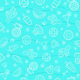 Cute seamless summer pattern with summer elements including hand Royalty Free Stock Photo