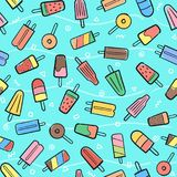 Cute seamless summer pattern with variety fruit ice cream backgr Royalty Free Stock Image