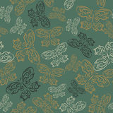Cute seamless texture with butterflies on a green background. Cute seamless texture with a butterflies on a green background Stock Photography