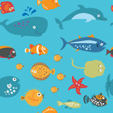 Cute seamless texture with cartoon fish on a blue background Stock Image