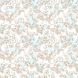 Cute seamless texture with lovely unicorns and flowers Stock Image