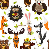 Cute seamless texture wild forest animal design on a white background. Cartoon style. Vector Stock Photos