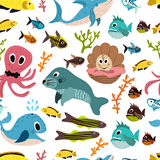 Cute seamless underwater texture design. Cartoon style. vector Stock Image