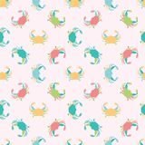Cute seamless vector pattern background made of pretty colorful crabs in a geometric layout for fabric, wallpaper stock images
