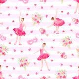 Cute seamless vector pattern with ballerinas, keys, bows, masks, Royalty Free Stock Photography