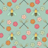 Honey Patterns. Cute seamless vector pattern with bee and honey elements Stock Photo