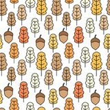 Cute seamless vector pattern illustration with acorns and autumn oak leaves for wallpaper, gift paper, pattern fills, web page. Background, autumn greeting royalty free illustration