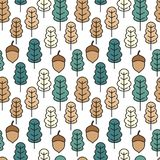 Cute seamless vector pattern illustration with acorns and autumn oak leaves for wallpaper, gift paper, pattern fills, web page. Background, autumn greeting vector illustration