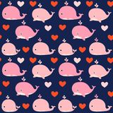 Cute seamless vector pattern with pink whales. On dark blue background for kids clothing and textile design Royalty Free Stock Images