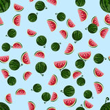 Cute seamless vector pattern with watermelons. Cute seamless vector pattern with watermelons on blue background Royalty Free Stock Images