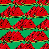 Cute seamless vector pattern with watermelons. Cute red watermelon slice design on striped blue background, seamless, pattern, wallpaper, background Royalty Free Stock Photos