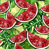 Seamless pattern with watermelons and tropical leafs. Cute seamless vector pattern with watermelons and tropical leafs, vector illustration Royalty Free Stock Photos