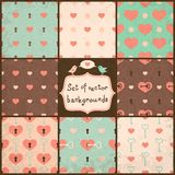 Cute Seamless Vector Patterns with Hearts. Stock Photography