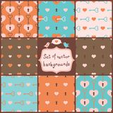 Cute Seamless Vector Patterns with Hearts. Stock Images