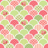 Cute seamless vintage pattern as patchwork in shabby chic style ideal for kitchen textile or bed linen fabrics. Curtains, carpets, tablecloth, wallpaper design vector illustration