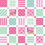 Cute seamless vintage pattern as patchwork in shabby chic style ideal for kitchen textile or bed linen fabrics Stock Image