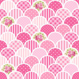 Cute seamless vintage pattern as patchwork in shabby chic style ideal for kitchen textile or bed linen fabrics. Curtains, carpets, tablecloth, wallpaper design royalty free illustration