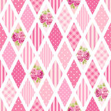 Cute seamless vintage pattern as patchwork in shabby chic style ideal for kitchen textile or bed linen fabrics Stock Photos