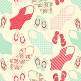 Cute seamless vintage pattern with swimsuits and flip-flops Royalty Free Stock Images