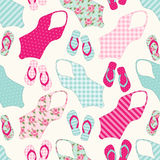 Cute seamless vintage pattern with swimsuits and flip-flops Royalty Free Stock Photos